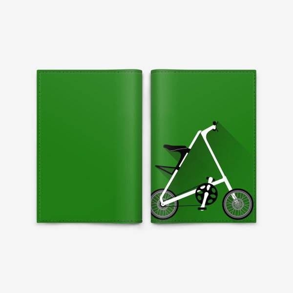 Обложка для паспорта «А-байк на зеленом фоне. Велосипед»