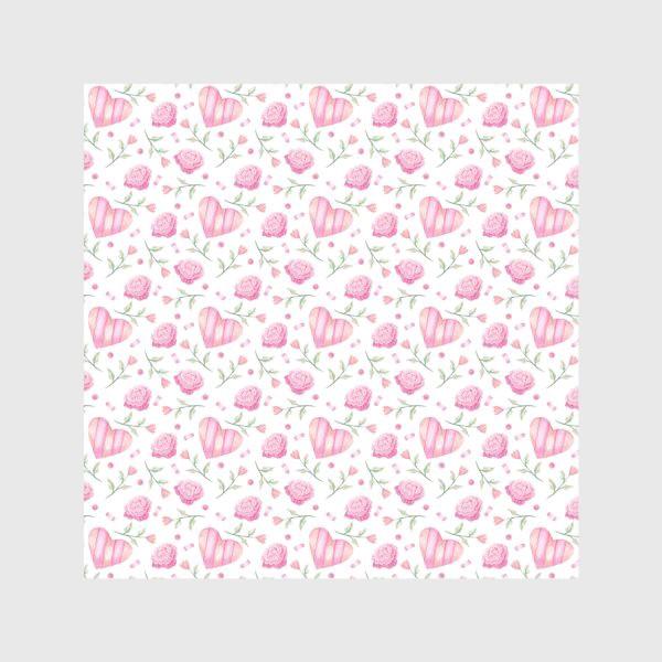 Скатерть «Нежный паттерн в розовых тонах с цветами и сердечками»