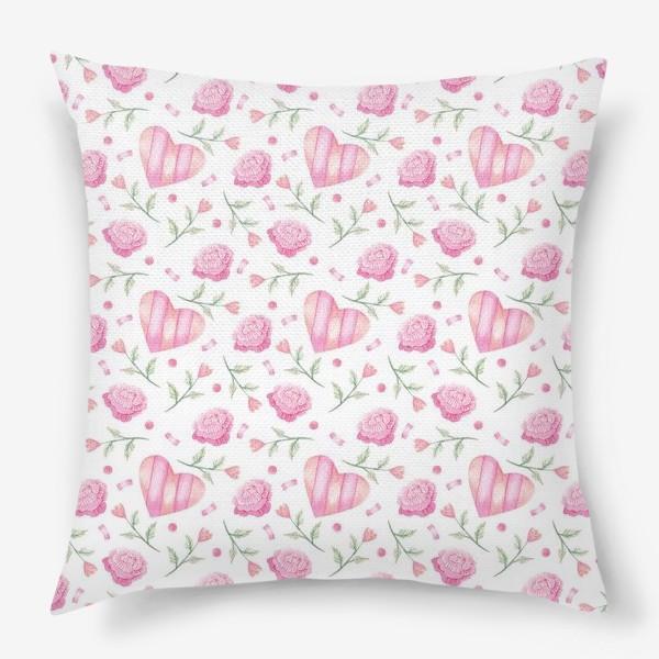 Подушка «Нежный паттерн в розовых тонах с цветами и сердечками»