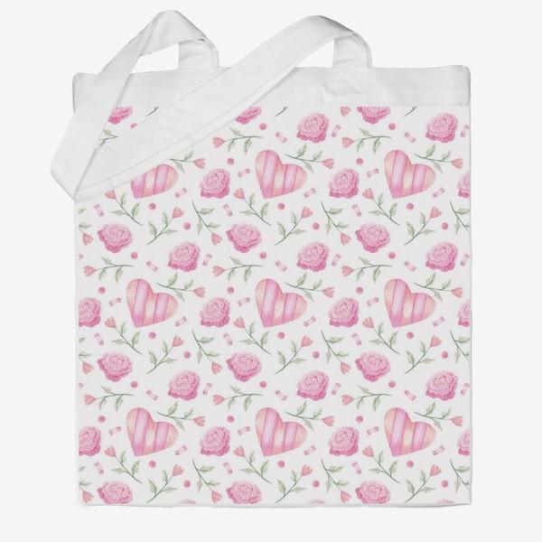 Сумка хб «Нежный паттерн в розовых тонах с цветами и сердечками»