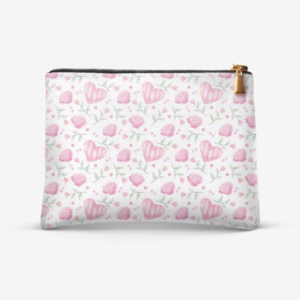 Косметичка «Нежный паттерн в розовых тонах с цветами и сердечками»