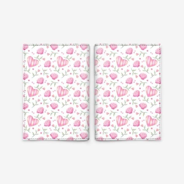 Обложка для паспорта «Нежный паттерн в розовых тонах с цветами и сердечками»