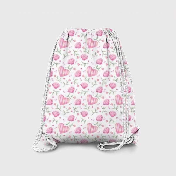 Рюкзак «Нежный паттерн в розовых тонах с цветами и сердечками»