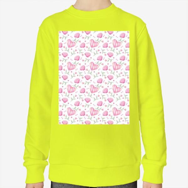 Свитшот «Нежный паттерн в розовых тонах с цветами и сердечками»