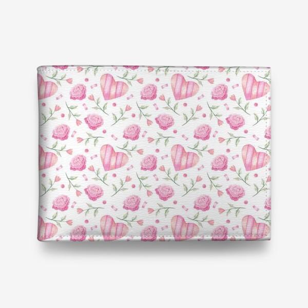 Кошелек «Нежный паттерн в розовых тонах с цветами и сердечками»