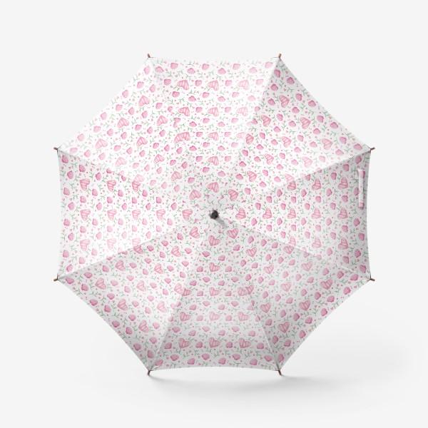 Зонт «Нежный паттерн в розовых тонах с цветами и сердечками»
