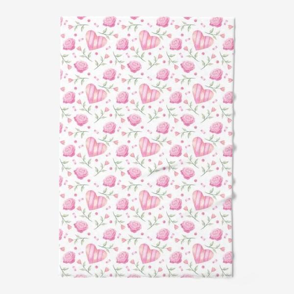 Полотенце «Нежный паттерн в розовых тонах с цветами и сердечками»