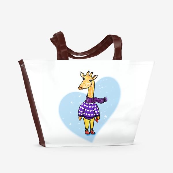 Пляжная сумка «Жираф в сердечках. Мечтая о будущем. В тренде.»