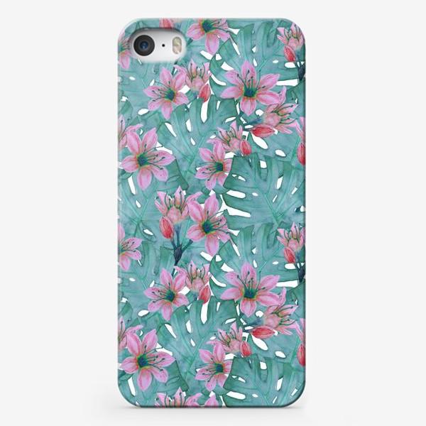 Чехол iPhone «Листья монстеры и цветы»