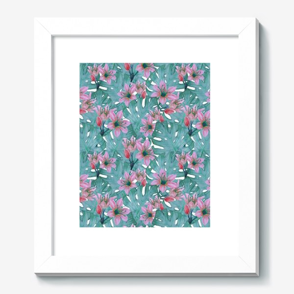 Картина «Листья монстеры и цветы»
