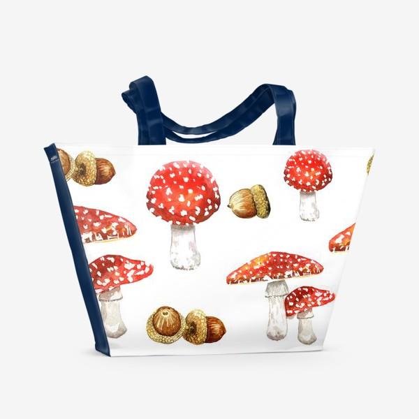 Пляжная сумка «Мухоморы , желуди »