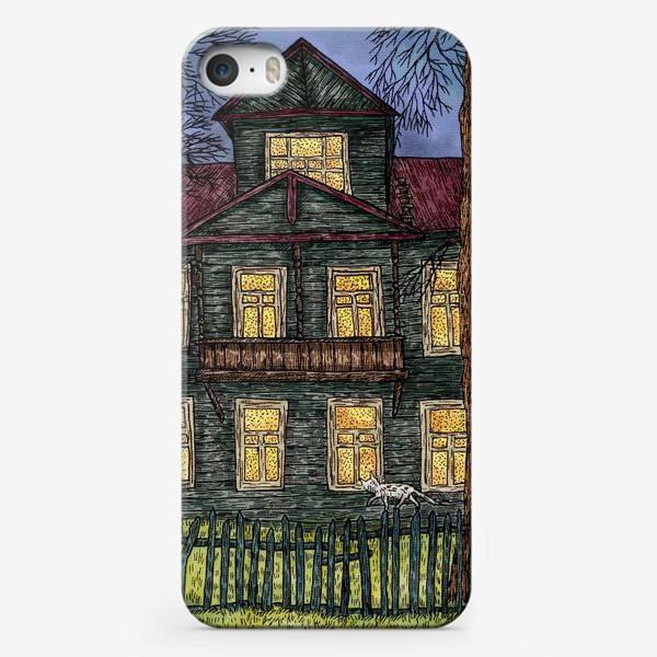 Чехол iPhone «Осеннее настроение пейзаж с домом»