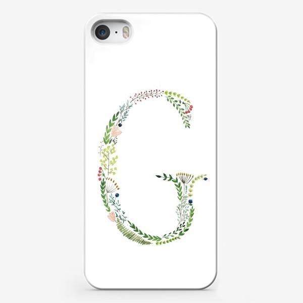 Чехол iPhone «Буква G из веточек, листиков, цветов и ягод.»