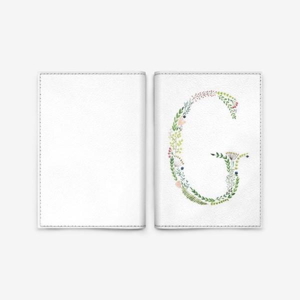 Обложка для паспорта «Буква G из веточек, листиков, цветов и ягод.»