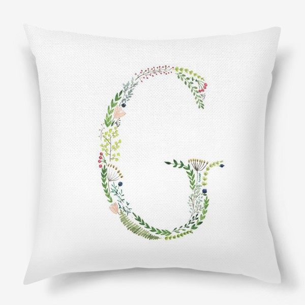 Подушка «Буква G из веточек, листиков, цветов и ягод.»