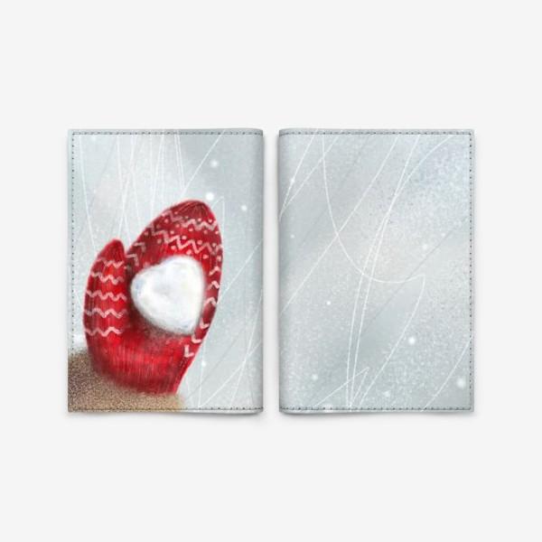 Обложка для паспорта «Снежная зима коньки лед варежка снежное сердце»