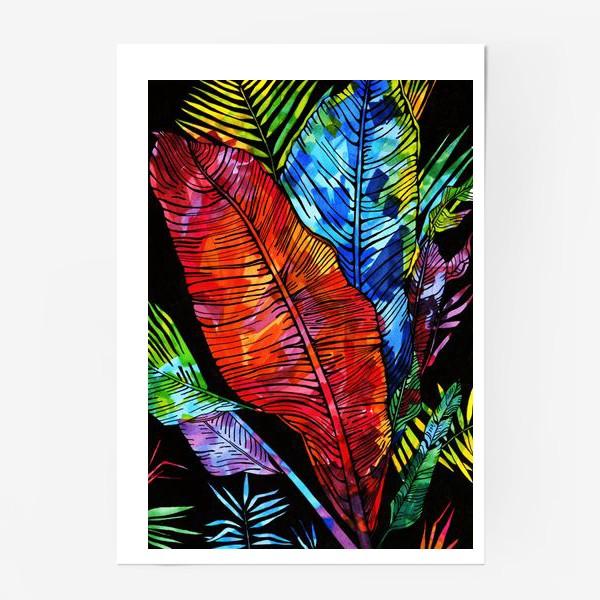 Постер «мозаика цвета на листьях»