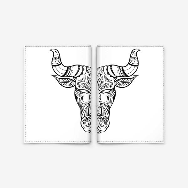Обложка для паспорта «Бохо бык с узором »