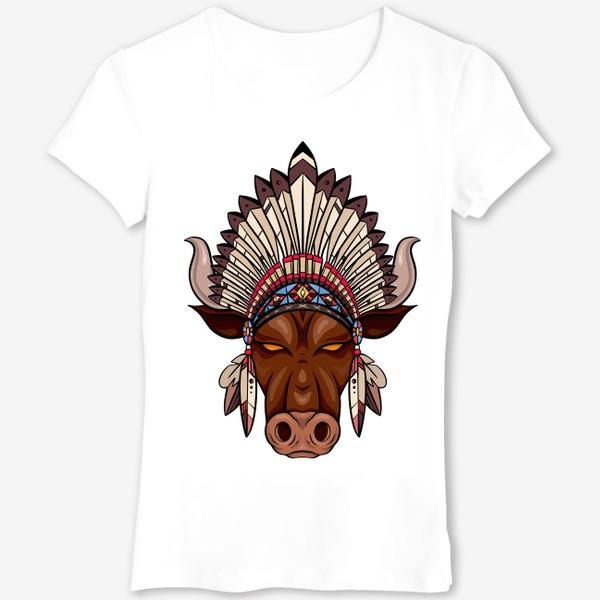 Футболка «Бык с индейским венцом из перьев»
