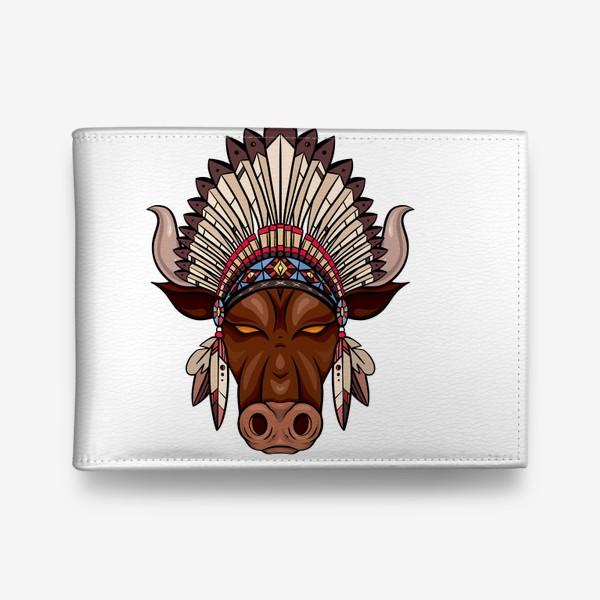 Кошелек «Бык с индейским венцом из перьев»