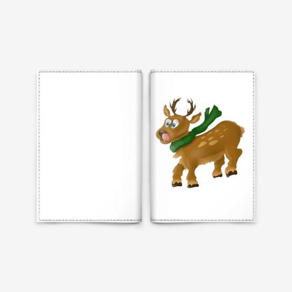 Обложка для паспорта «Олень в шарфе»