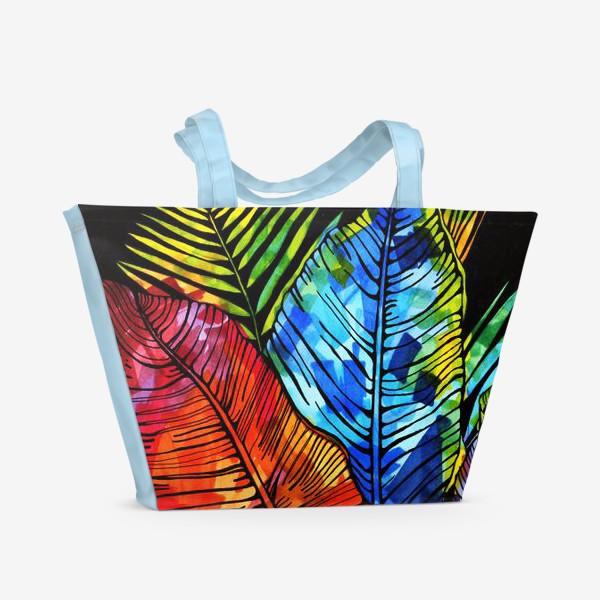 Пляжная сумка «мозаика цвета на листьях»