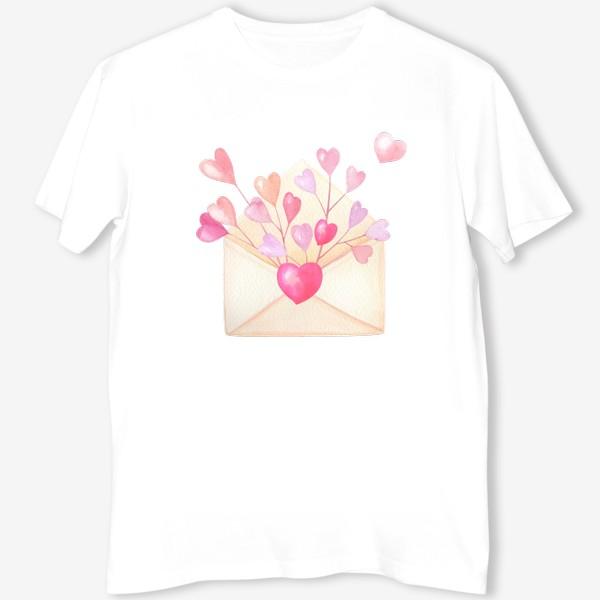 Футболка «Конверт с розовыми сердечками»