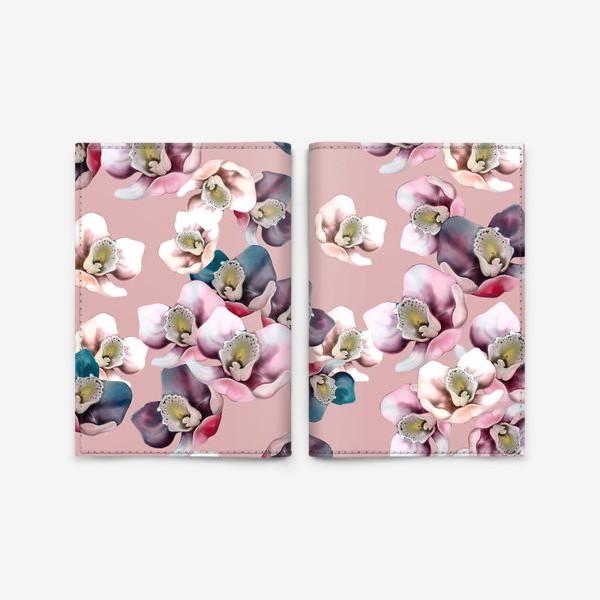 Обложка для паспорта «Цветочный узор. Орхидеи.»