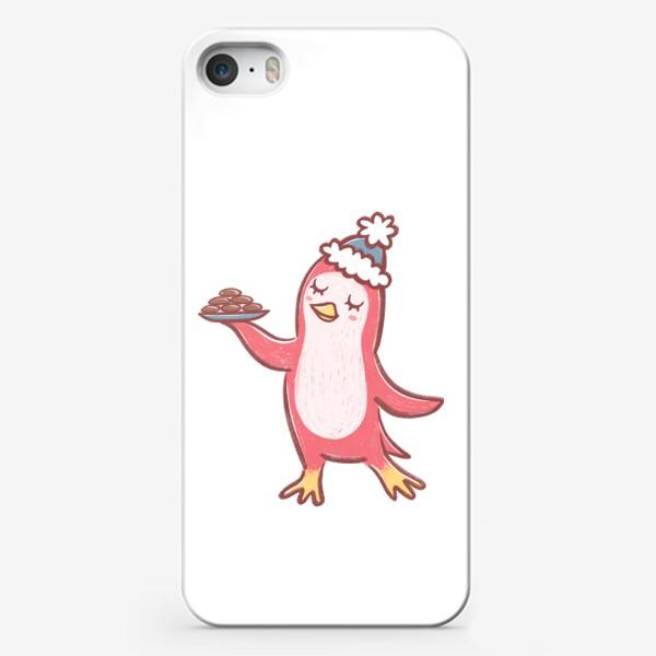 Чехол iPhone «Пингвин с шоколадным печеньем»