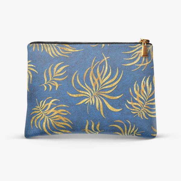Косметичка «Золотые листья на текстурном фоне»
