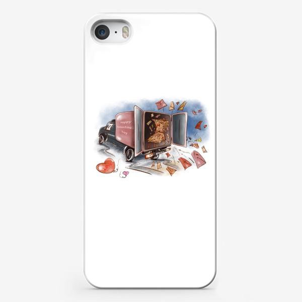 Чехол iPhone «День влюбленных. Почтовая машина с валентинками»