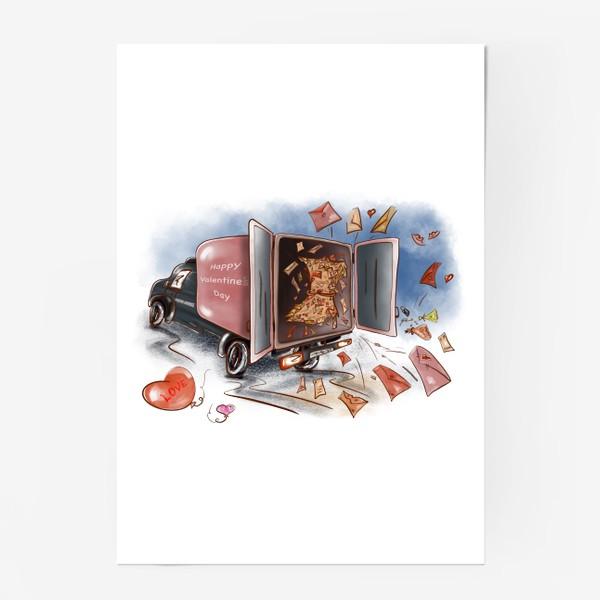 Постер «День влюбленных. Почтовая машина с валентинками»