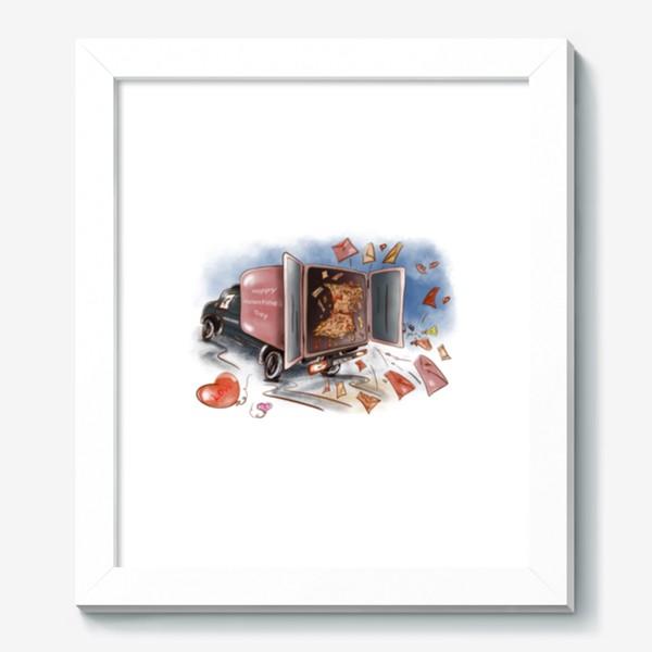 Картина «День влюбленных. Почтовая машина с валентинками»