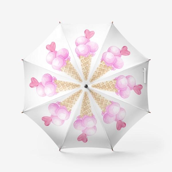 Зонт «Розовое мороженое в рожке с сердечком»