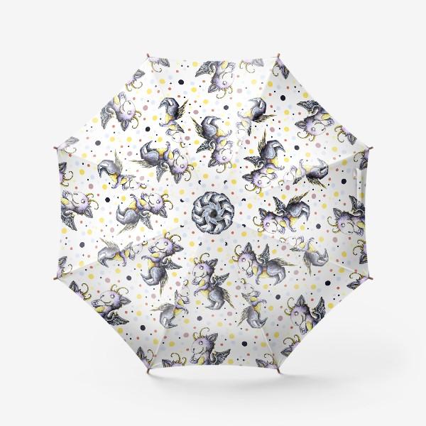 Зонт «Монстрики на белом фоне. Паттерн»