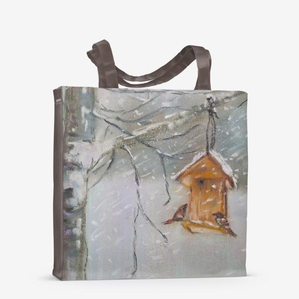 Сумка-шоппер «Скворечник Зимний пейзаж Пастель»