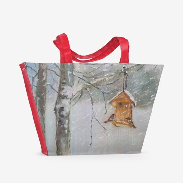 Пляжная сумка «Скворечник Зимний пейзаж Пастель»