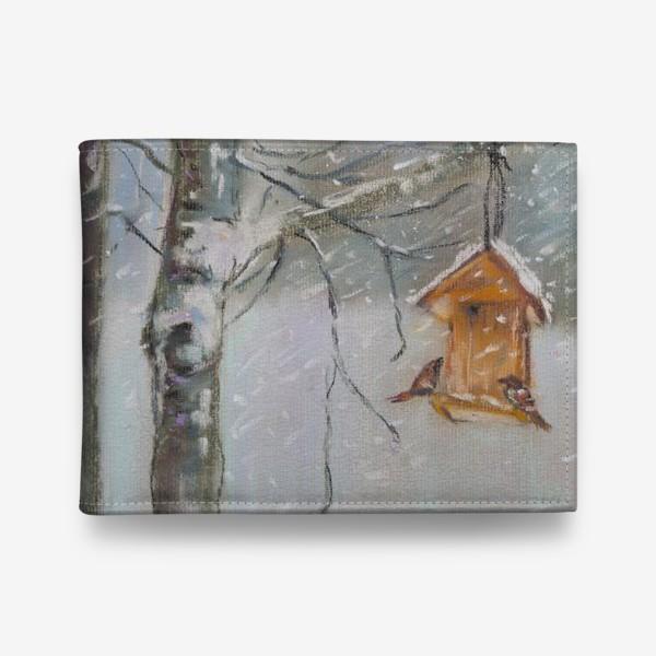 Кошелек «Скворечник Зимний пейзаж Пастель»