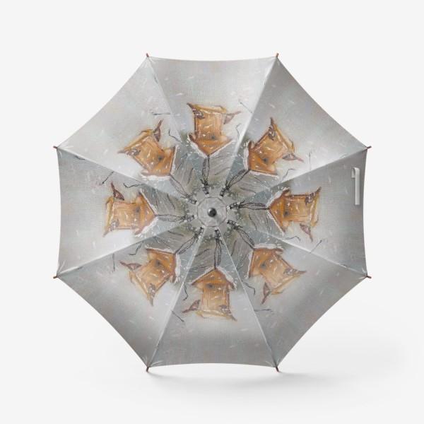 Зонт «Скворечник Зимний пейзаж Пастель»