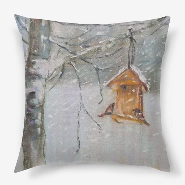 Подушка «Скворечник Зимний пейзаж Пастель»