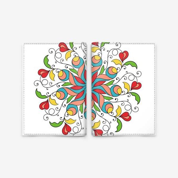 Обложка для паспорта «Круговой узор с красными сердечками»