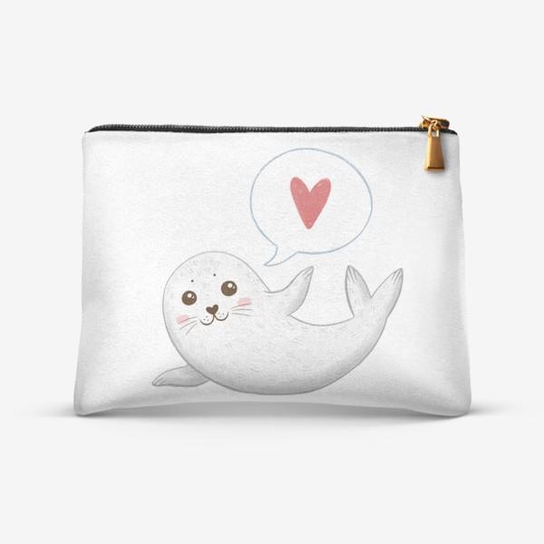 Косметичка «Милый тюлень с сердечком»
