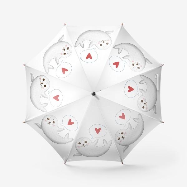 Зонт «Милый тюлень с сердечком»