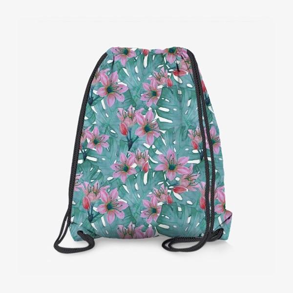 Рюкзак «Листья монстеры и цветы»