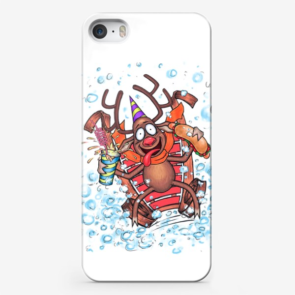 Чехол iPhone «Олень на санках»