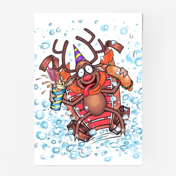 Постер «Олень на санках»