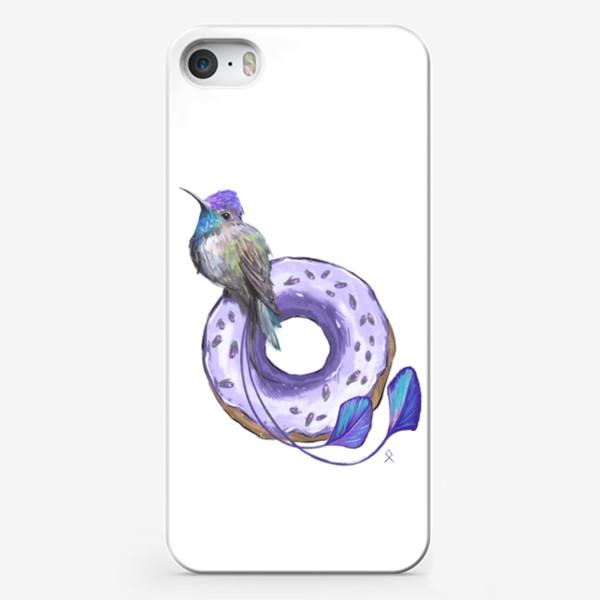 Чехол iPhone «Колибри и пончик »