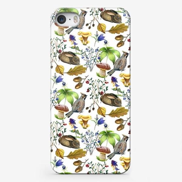 Чехол iPhone «Паттерн лесной на белом»