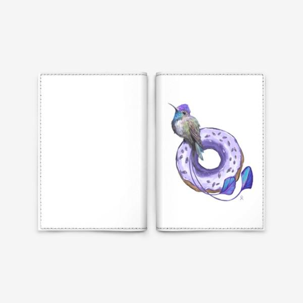 Обложка для паспорта «Колибри и пончик »