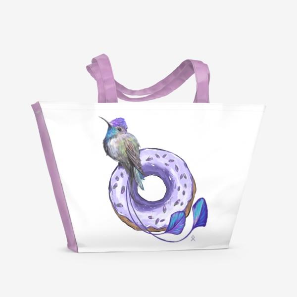 Пляжная сумка «Колибри и пончик »
